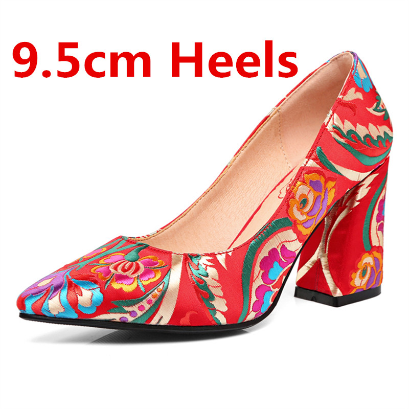 95b0899eacb14 MORAZORA Size 33-43 New fashion women pumps embroidery red bridal wedding  shoes pointed toe