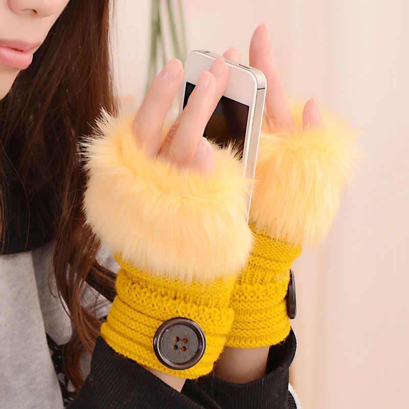 Зимняя женская перчатка, плюшевые однотонные, из искусственного меха кролика, грелка для рук, женские перчатки без пальцев для девочек, подарки NFE99