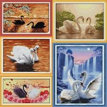 Joy Sunday Beautiful swan series Canvas DMC Counted Chinese Cross Stitch Kits printed Cross-stitch set Embroidery Needlework