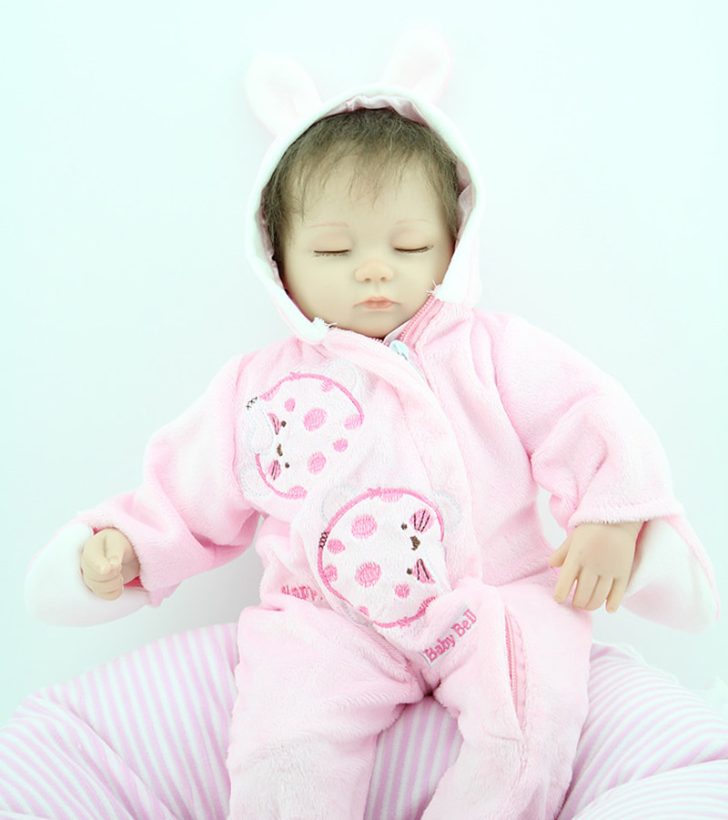 Hot Sale 18 Inch Baby Sleeping Silicone Bebe Reborn Dolls Little Kids Accompany Dolls Boneca Princess Simulation Toys Juguetes hot sale 12cm foreign chavo genuine peluche plush toys character mini humanoid dolls