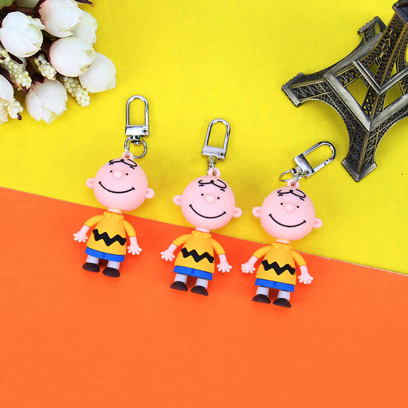 Charlie Brown Corrente Chave bonito Dos Desenhos Animados Para Senhoras Saco Carro Criativo Acessórios Charme Anime Chaveiro anel Chave Presentes do Namorado mulheres