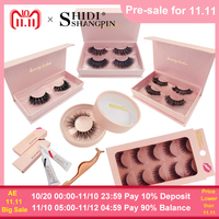SHIDISHANGPIN lashes kit natural long false eyelashes hand made 3d mink fake eyelash extension lash makeup tool mink eyelashes