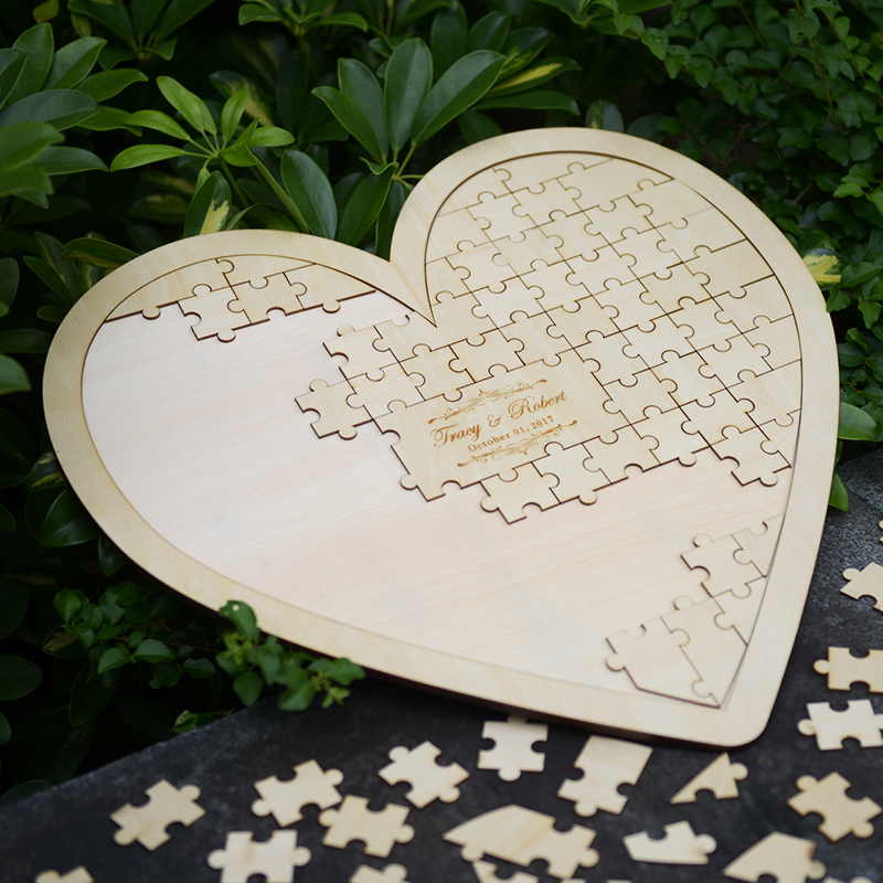 Customs personalised puzzle heart shaped wedding guestbook for Backyard party decoration crossword