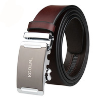 Genuine Leather Male Belts Business Men High Quality Black Waist Belt Automatic Alloy Buckle Gift Plus