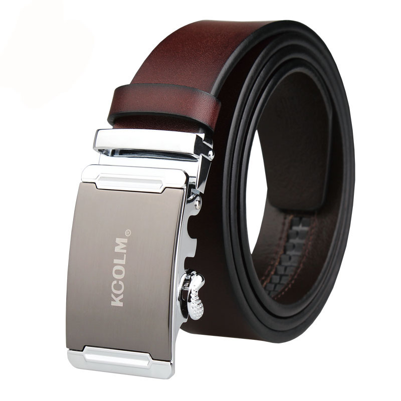 Genuine Leather Male Belts business men high quality Black waist belt automatic alloy buckle gift plus big size130 150 140 160