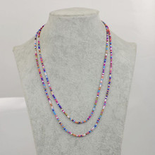 New Bohemian Colorful Beads Necklace For Dress Tassel Boho Beaded Chain Long Women Promotion Jewelry