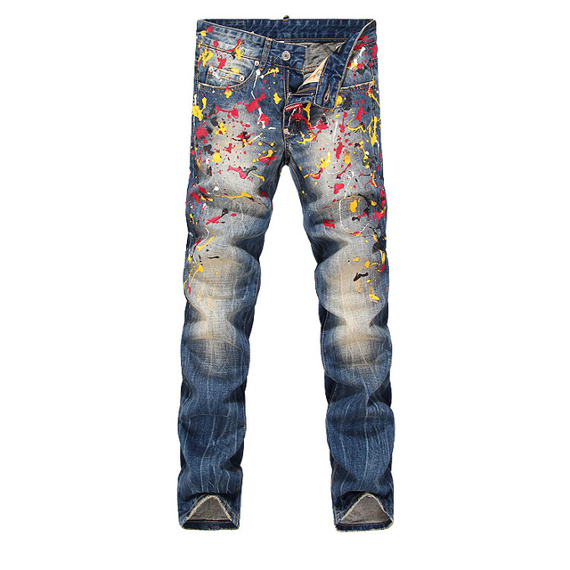 76984a1715b Italian Popular Man Colorful Oil Painting Jeans Men's Trendy Cool Bootcut  Denim Biker Jeans Straight Slim Trousers Pants