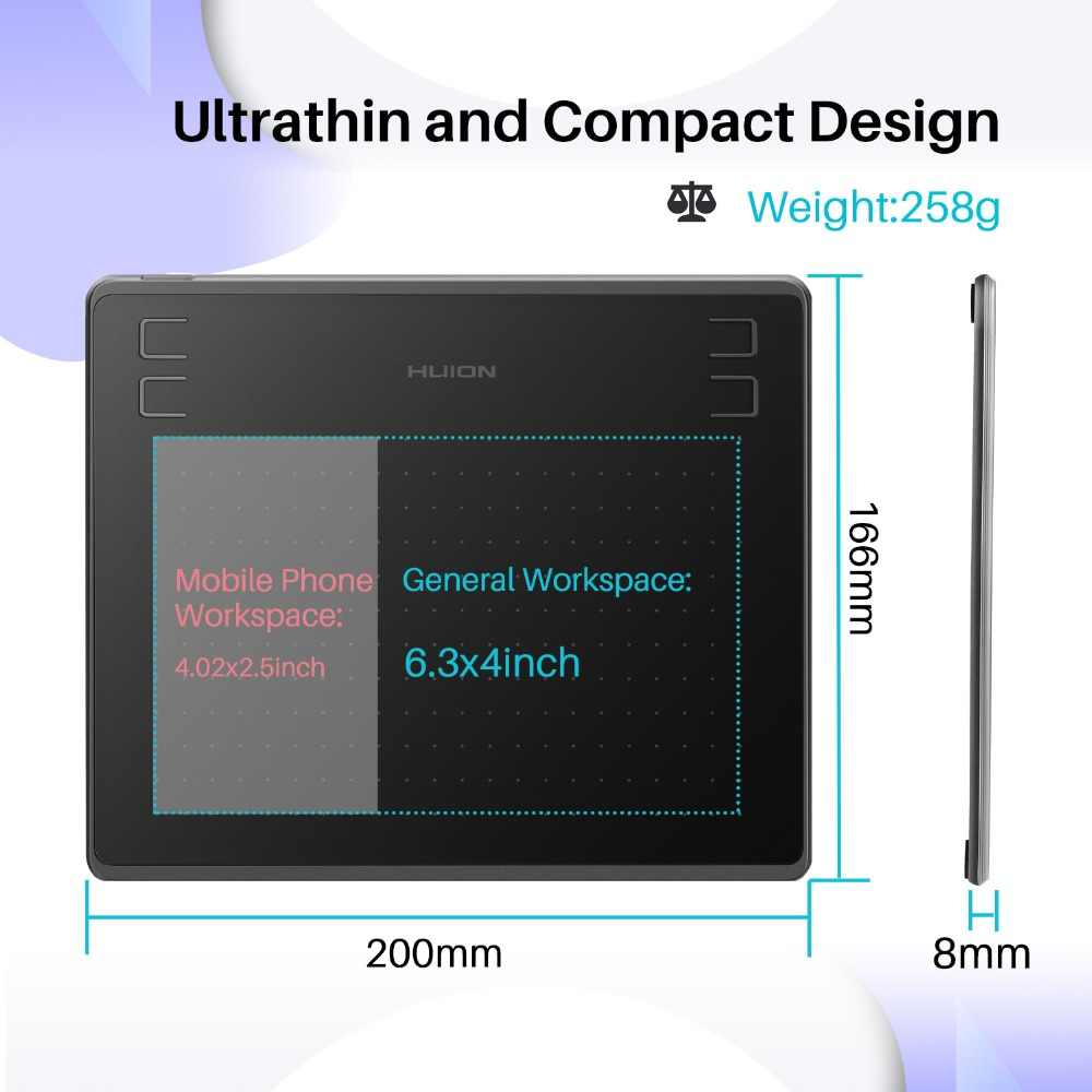 Huion más nuevo HS64 tableta gráfica de 6x4 pulgadas tableta de dibujo Digital con Stylus sin batería Compatible con Android windows MacOS
