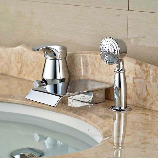 Bathroom Chrome Brass Tub Faucet W/ Hand Shower Sprayer Diverter Mixer Tap thermostatic valve mixer tap w hand shower tub spout tub faucet chrome finish