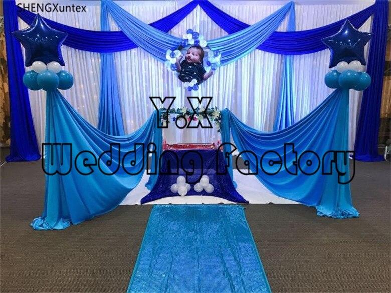 Offre spéciale rideau en toile de fond blanche avec flou royal et rideaux de couleur turquoise pour la décoration d'événement de fête de banquet avec lumière LED
