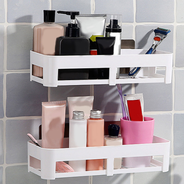 Bathroom Wall Rack Organizer Shelf Kitchen Bathroom Storage Rack Cosmetic  Storage Dual Strong Suction Cup Wall