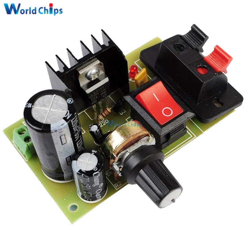 LM317 Step Down <font><b>DC</b></font> 5V-35V to 1.25V-<font><b>30V</b></font> DIY Kits <font><b>AC</b></font>/<font><b>DC</b></font> Power Supply Module PCB Board 5K Adjustable Resistor With On/Off Switch image