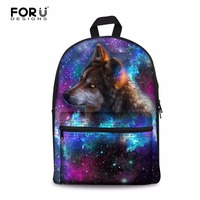 FORUDESIGNS Women Canvas School Knapsack 3D Wolf Lion Printed School Backpack For Girls Student Backpack Travel Infantry Pack