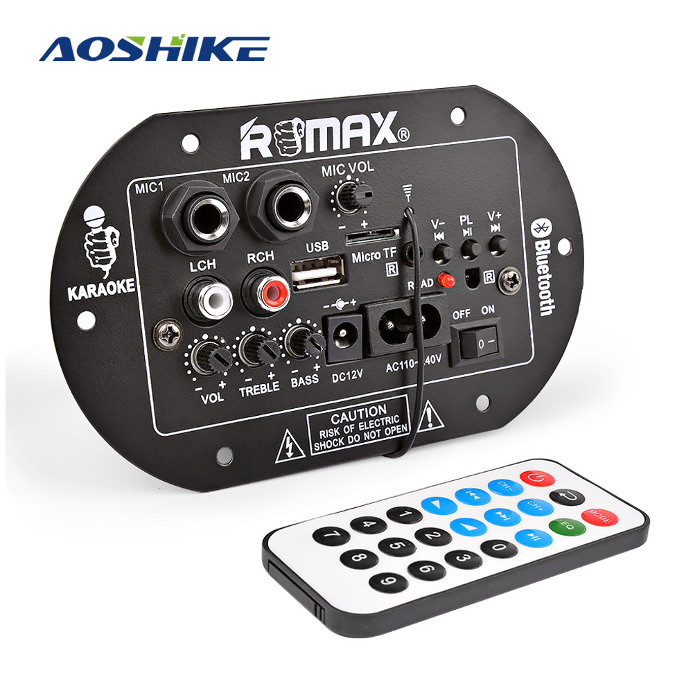 AOSHIKE Amplifier-Board Subwoofer Sound-System Dual-Microphone Bluetooth Home Car 12V