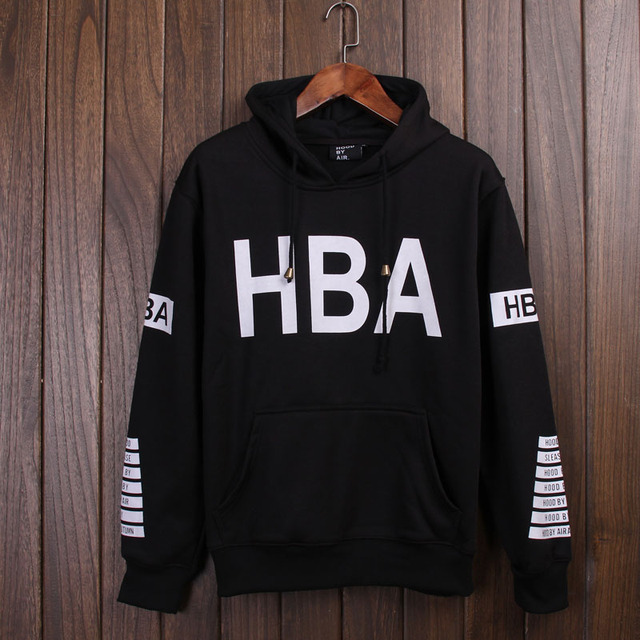 New Arrival Men Women HBA Hoodies Black Personality Design Winter Autumn Fleece Sweatshirt High Quality Pullover Plus Size XXL