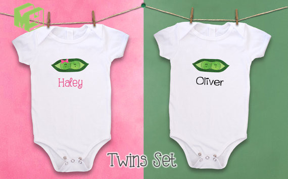 Short Sleeved Gift Buy one get one free Personalised Twins Baby bodysuits