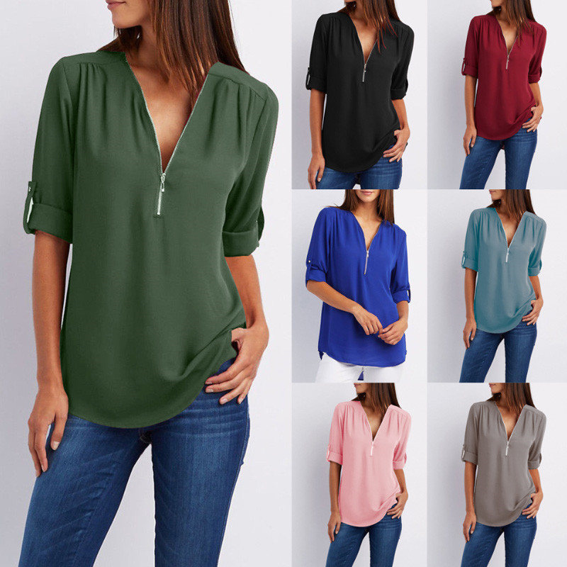 hot-sale-2018-Women-Chiffon-Blouse-Blusas-Tops-Large-Size-Roll-Up-Sleeve-SEXY-v-neck (1)