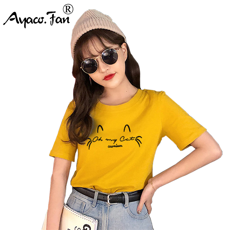 Plus Size Summer New Women T-Shirts 2019 New O-Neck Short Sleeve Print Loose T-Shirt Casual Slim Lady Shirts Female Tops Tees
