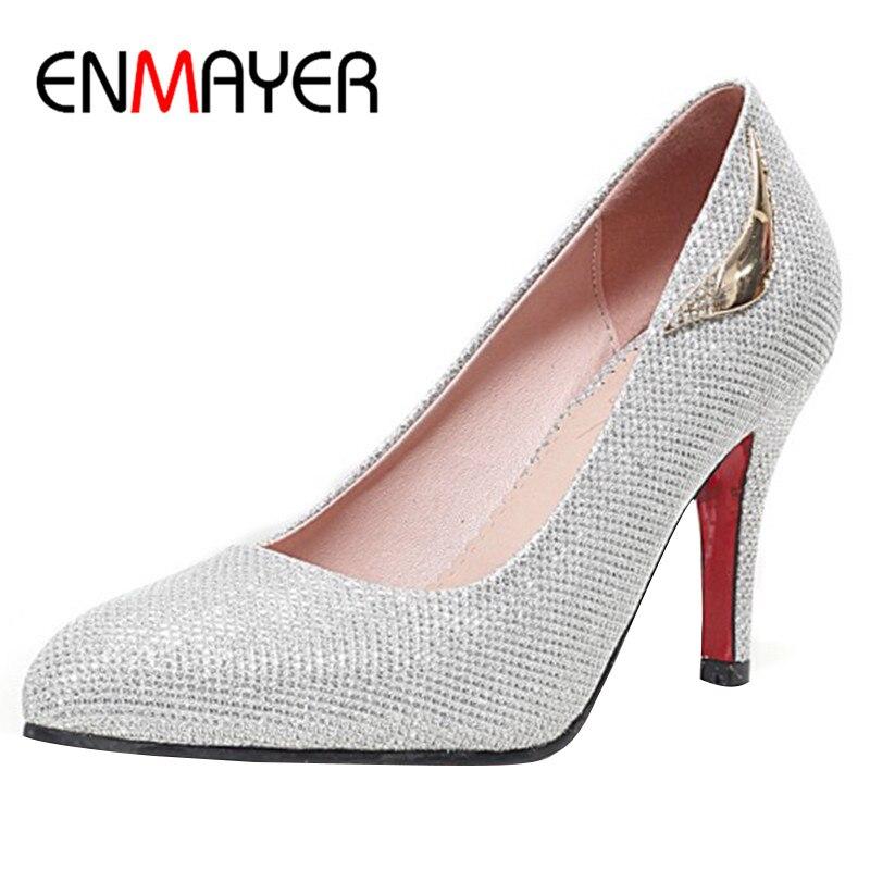 ENMAYER Glitter Shoes Woman High Heels Party&wedding Gold Bling Pumps Plus Size 34-43 Office Ladies Shoe