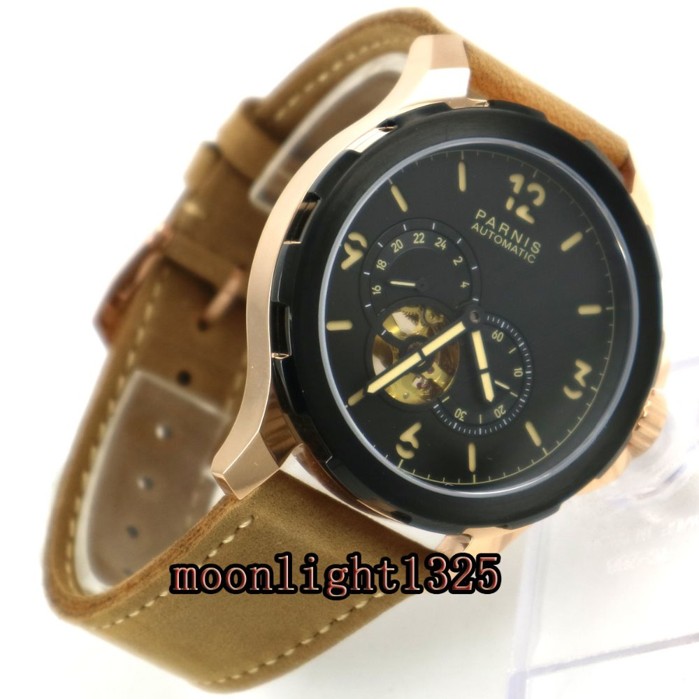 44mm Parnis black dial luminous marks Sapphire glass miyota Automatic Mens Watch цена и фото