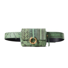 Serpentine Pillow Black Fanny Pack Waist Packs Female Casual Snake Skin Waist For 2019 Summer Bag Green PU Leather Hot Selling(China)