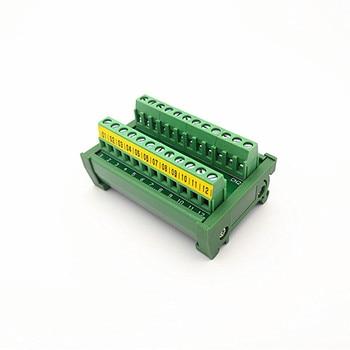 DIN Rail Mount 24A/400V 12 Position Screw Terminal Block Distribution