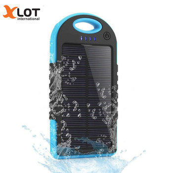 Xlot 5000mAh  Solar Power Bank Dual USB Portable Charger Outdoor Travel Enternal Battery Powerbank for iPhone Android phone