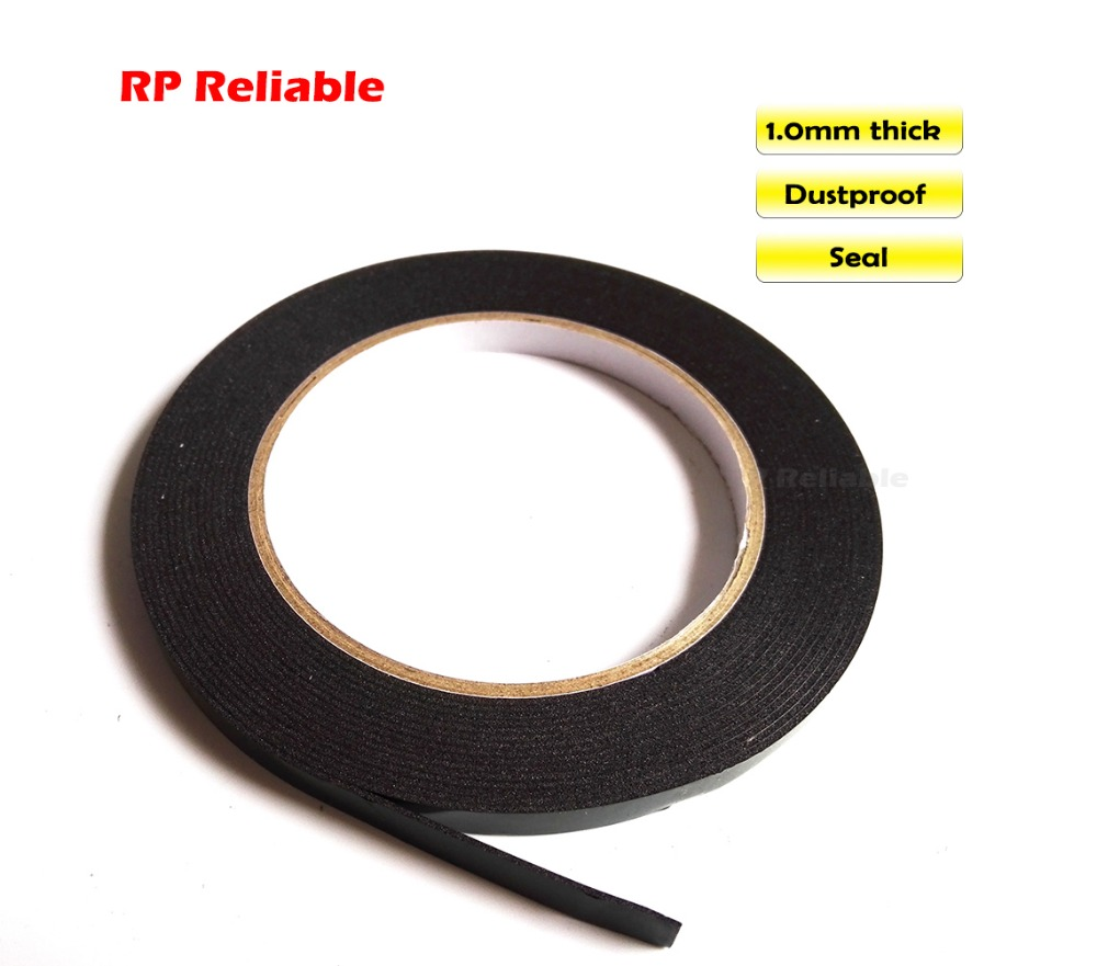 RP Reliable, 1mm thick, Double Sided Adhesive Black Foam Tape for Car Panel, LED LCD Plate, Poster Seal, Dust Proof 5m/roll