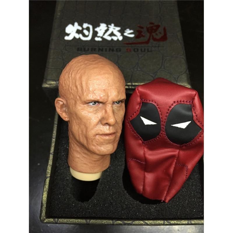 "1//6 Ryan Reynolds Deadpool Burned Ver Head With Money For 12/"" Hot Toys Figure"