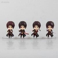 4pcs/set 9cm Anime Touken Ranbu Online Action Figure Kashuu Kiyomitsu Q Ver Mini Small PVC Model Collectible Cute Decoration Toy