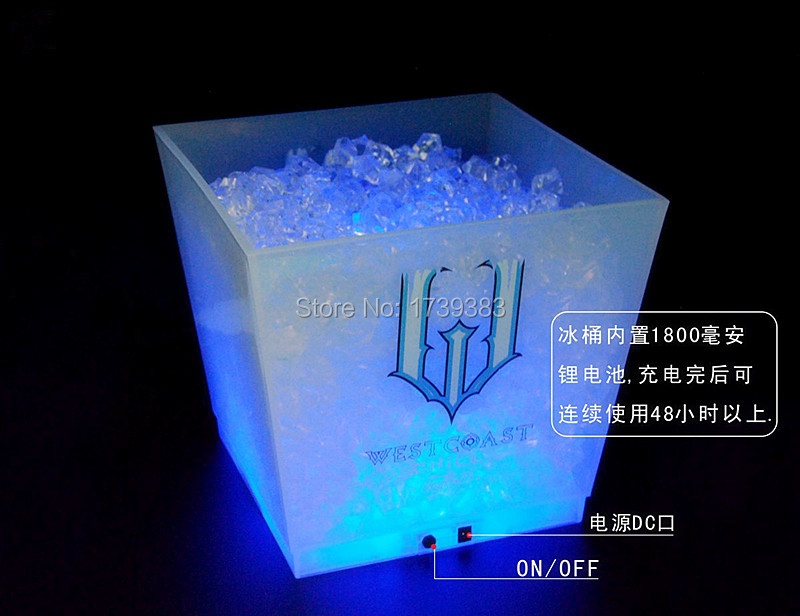 large capacity 12L cube rechargeable led ice bucket 3