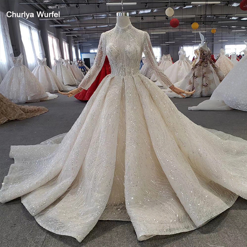 HTL272 Sparkly Wedding Dress with popular metallic line high neck handmade beaded wedding gown with long train sukienka wesele-in Wedding Dresses from Weddings & Events
