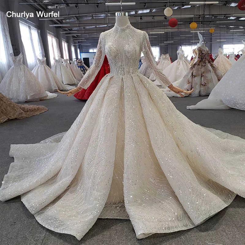 HTL272 świecący suknia ślubna z popularne metalowe linii wysokiej szyi ręcznie zroszony suknia ślubna z długim pociągiem sukienka wesele