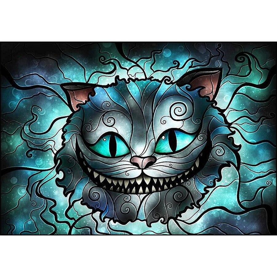 5D FAI DA TE Diamante Pittura Del Fumetto Cheshire Cat Animal Pieno Trapano Piazza Diamante Ricamo Punto Croce Strass Mosaico Immagine5D FAI DA TE Diamante Pittura Del Fumetto Cheshire Cat Animal Pieno Trapano Piazza Diamante Ricamo Punto Croce Strass Mosaico Immagine