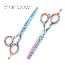 Brainbow 2 adet/takım 5.5 çok renkli saç makas sağ kesme inceltme kuaförlük makas Pro Salon saç şekillendirici araçları