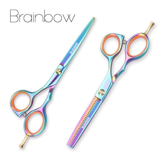 Brainbow 2 sztuk/zestaw 5.5 multi color nożyczki do włosów prawa ręka wycinanie usuwanie fryzjerskie nożyczki Pro Salon narzędzia do stylizacji włosów
