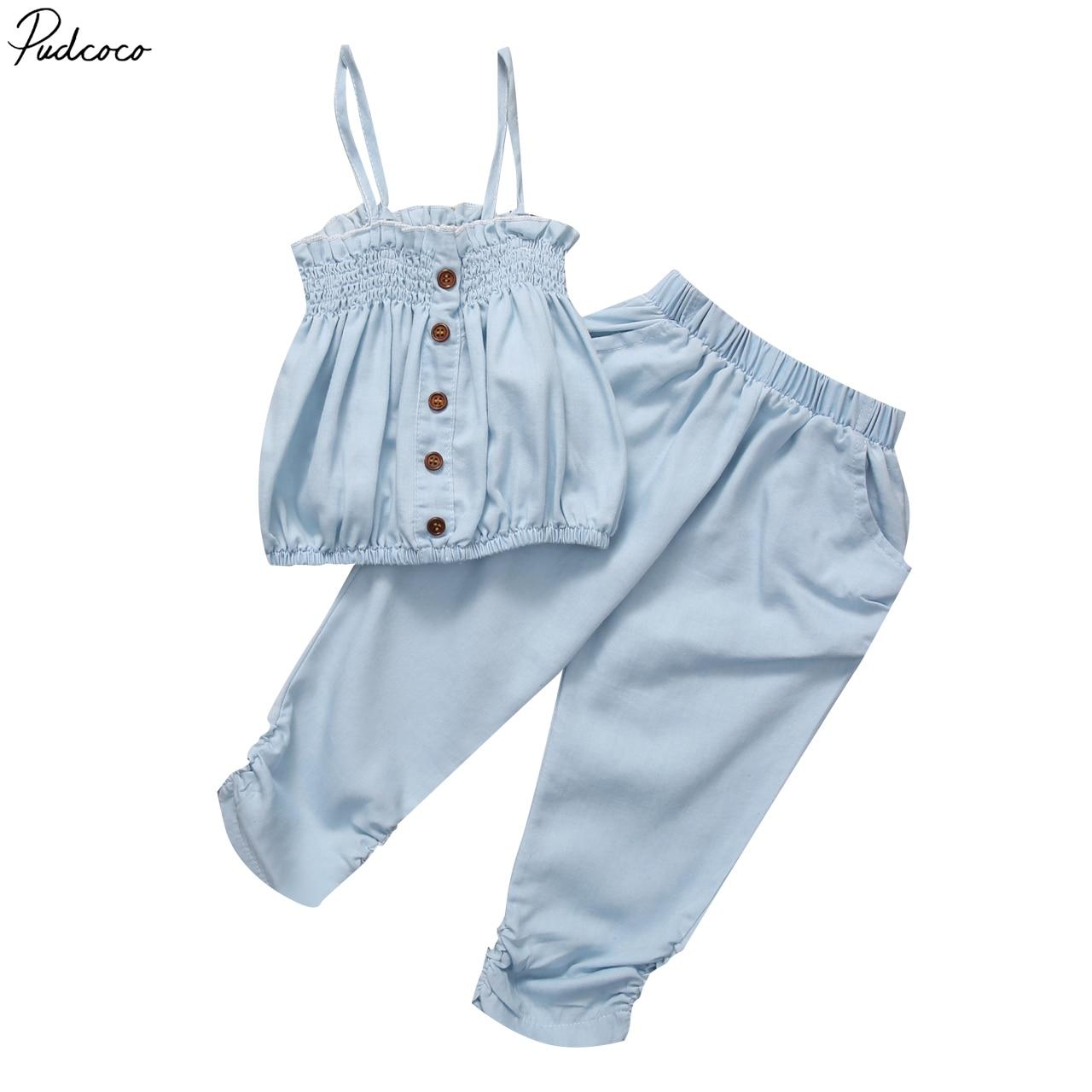 Helen115 Casual barnflicka sommarblå ärmlös fyrkantig krage - Barnkläder