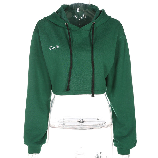DOUBLE Letter Embroidery Cropped Hoodies Sweatshirt 4