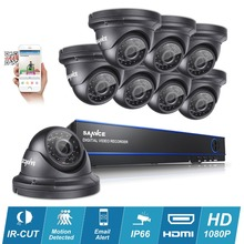 SANNCE 8CH Full HD 1080P DVR CCTV Camera System 8pcs 2MP waterproof Dome Security Cameras p2p Video Surveillance kits HDD
