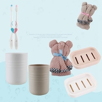 NEW Couple Bear Wash Bath Suit Of 7 Set Towel Toothbrush Mug Soap Box Holder Travel