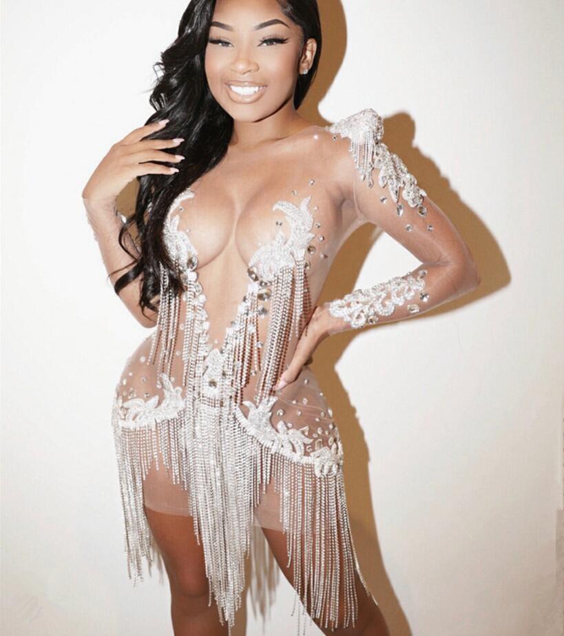 Été maille Sexy perles cristaux chaînes robe voir à travers la fête d'anniversaire célébrer glands Costume discothèque franges tenue