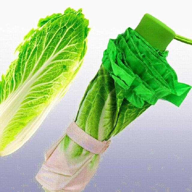 Новинка капуста зонтик три 3 раза по борьбе с уф женщины дождь зонтик подарок зонтик зеленые овощи guarda chuva