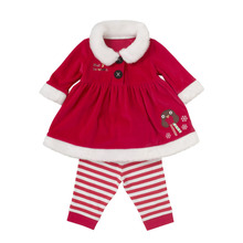 New Year Baby Girls Clothing Set Gala Christmas Top Coat Dress with Striped Leggings Outfit Xmas Costume