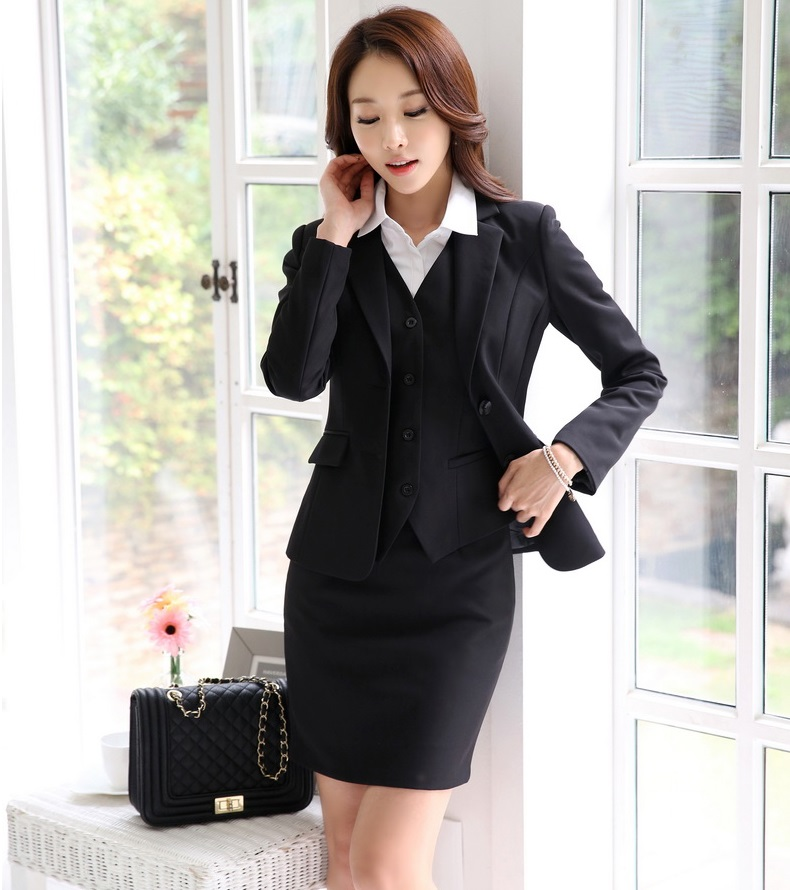 791d92cec54fd Formal OL Styles Professional Business Women Work Suits With Jackets And  Skirt Ladies Blazers Outfits Plus Size 4XL Spring Fall-in Skirt Suits from  Women's ...