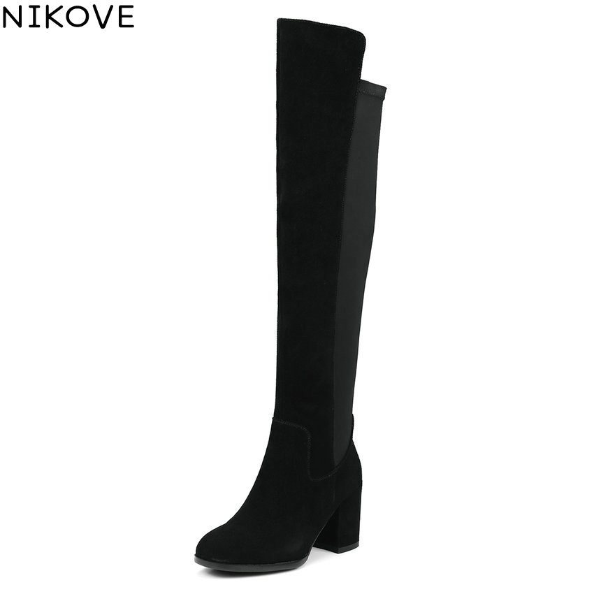NIKOVE 2018 Women Boots Western Style High Heel Over The Knee Boots Round Toe Spring and Autumn Fashion Ladies Boots Size 34-39 hot 2017 embroidery in the western united states cowboy boots in the spring and autumn horse lovers fashion boots 35 44