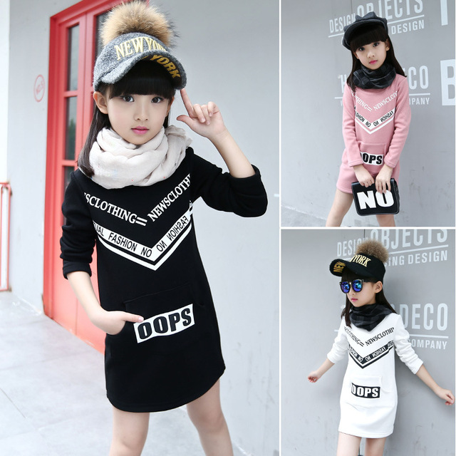sweatshirt girls hoodies kids sudadera nina Children warm clothes Girls winter long sweatshirts Warp-knitted velvet long tops