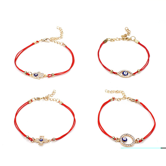 Evil eye simple blue evil eye charm bracelet female red double evil eye simple blue evil eye charm bracelet female red double rope cross hamsa hand lucky mozeypictures Images