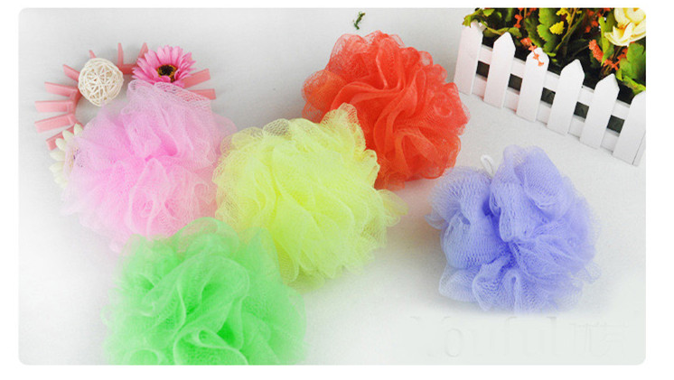 good quality multi-colored soft bath flower showering ball easily to make bubbles soft and comfortable 50 pieces per lot