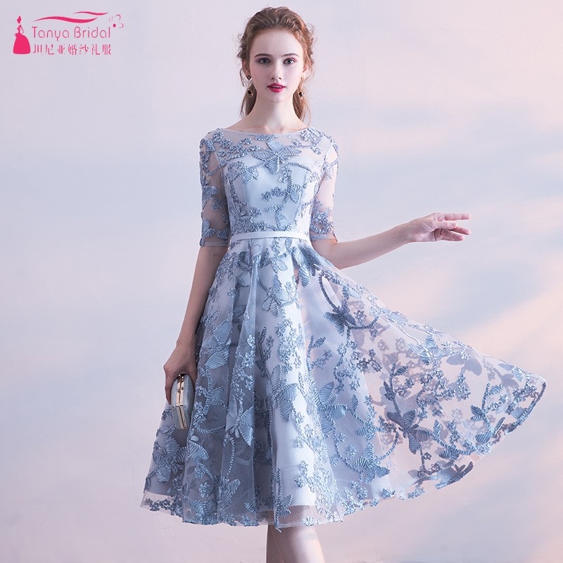 Scoop Neck Lace   Bridesmaid     Dresses   Knee Length Grey Blue Formal Wedding Party   Dress   Gown For Women Wedding Guest   Dress   JQ287