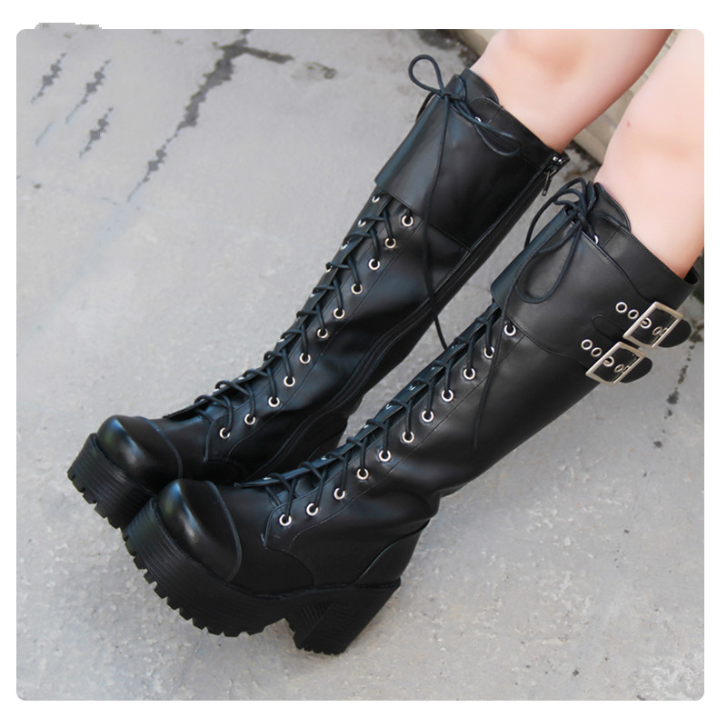 Princess sweet punk shoes Classic thick bottomed punk cos lolita boots with high boots Round head high barrel square heel pu7008 round flat bottomed sweet bowknot short boots